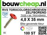 RVS Torxcolorschroef zelfborend 4,8x35 tbv HPL en Trespa® (100 st)_