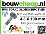 RVS Torxcolorschroef 4,8x100 tbv HPL en Trespa® (100 st)_