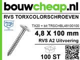 RVS Torxcolorschroef 4,8x100 blank tbv HPL en Trespa® (100 st)_