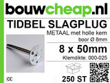TIDBEL metalen holle slagpluggen 8x050mm_