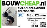 Golfplaatbout RVS A2 Zelfborend 6,5x120mm_