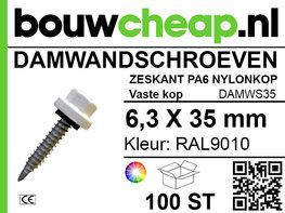 Damwandschroef 6.3x35mm RAL9010