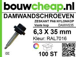 Damwandschroef 6.3x35mm RAL7016