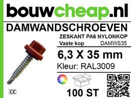 Damwandschroef 6.3x35mm RAL3009