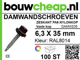 Damwandschroef 6.3x35mm RAL8014
