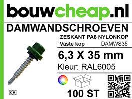 Damwandschroef 6.3x35mm RAL6005