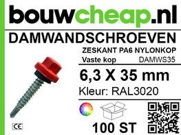 Damwandschroef 6.3x35mm RAL3020