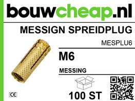 Messing spreidplug M6 - 100 st.