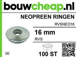 RVS Neopreen ring 16MM (100 ST.)