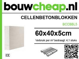 Cellenbetonblokken, gasbeton G4/600 60x40x5cm pallet=120stuks