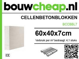 Cellenbetonblokken, gasbeton G4/600 60x40x7cm pallet=84stuks