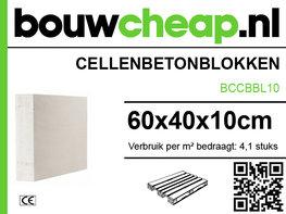Cellenbetonblokken, gasbeton G4/600 60x40x10cm pallet=60st