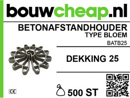 Betonafstandhouder type bloem Ø 25mm (500 st.)