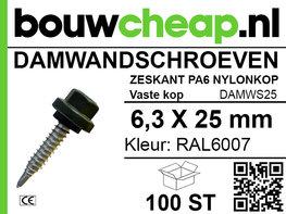 Damwandschroef 6.3x25mm RAL6007