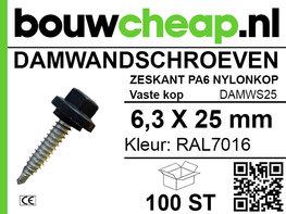 Damwandschroef 6.3x25mm RAL7016