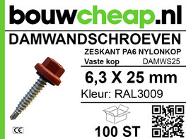 Damwandschroef 6.3x25mm RAL3009