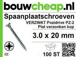 Spaanplaatschroeven PZ 3.0x20mm PVK 100st