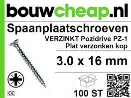 Spaanplaatschroeven PZ 3.0x16mm PVK 100st