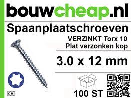 Spaanplaatschroeven TX 3.0x12mm PVK 100st
