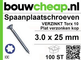Spaanplaatschroeven TX 3.0x25mm PVK 100st