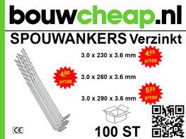 Spouwankers 290mm (100 st.)