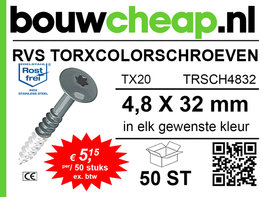 RVS TorxColorschroeven 32mm 50 st