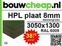 HPL plaat 8mm RAL6009 dennengroen
