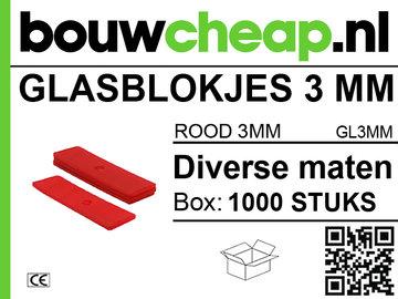 Glasblokjes 3mm rood (1000 st.)