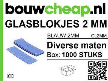 Glasblokjes 2mm  blauw (1000 st.)