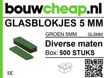 Glasblokjes 5mm groen (500 st.)