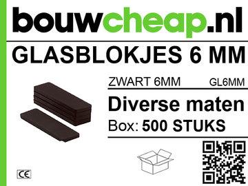 Glasblokjes 6mm zwart (500 st.)
