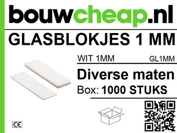 Glasblokjes 1mm wit (1000 st.)