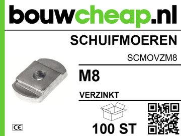 Schuifmoeren verzinkt M8 (100 ST.)