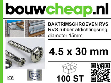 Daktrimschroeven RVS 4,5 x  30mm (100st)