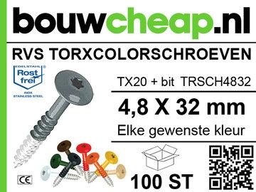 RVS TorxColorschroeven  32 mm 100 st