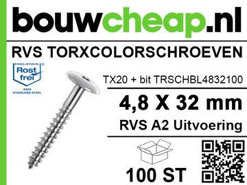 RVS TorxColorschroeven blank 32mm 100 st
