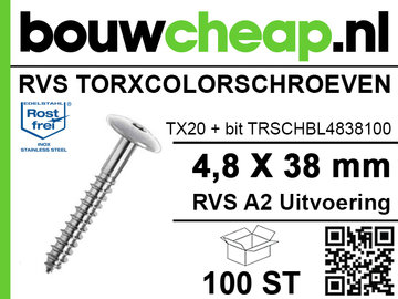 RVS TorxColorschroeven blank 38mm 100 st