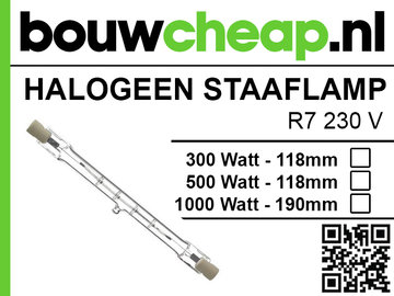 Halogeen staaflamp 500W 118mm R7 230V