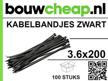 Kabelbandjes 3.6x200mm zwart
