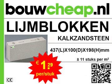 Lijmblokken Kalkzandsteen 437x100x198mm