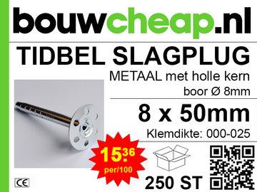 TIDBEL metalen holle slagpluggen 8x050mm