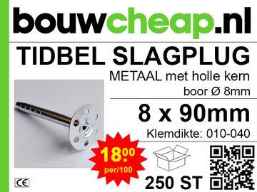 TIDBEL metalen holle slagpluggen 8x090mm
