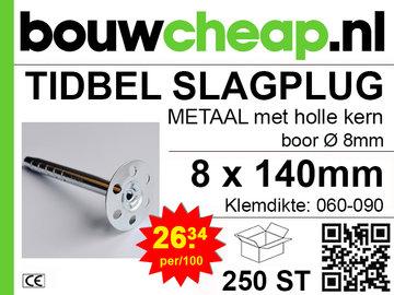 TIDBEL metalen holle slagpluggen 8x140mm