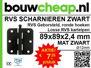 Scharnier RVS ZWART ronde hoeken 89x89x2,4mm