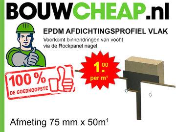 EPDM Afdichtingsprofiel Vlak 75mmx50m1