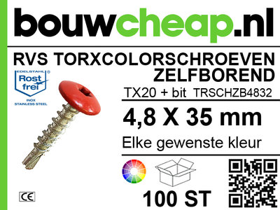 RVS Torxcolorschroef zelfborend 4,8x35 tbv HPL en Trespa® (100 st)