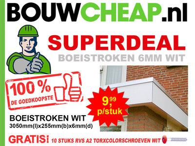 Boeistroken 6MM WIT 3050MMx255MMx6MM