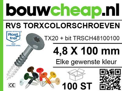 RVS Torxcolorschroef 4,8x100 tbv HPL en Trespa® (100 st)
