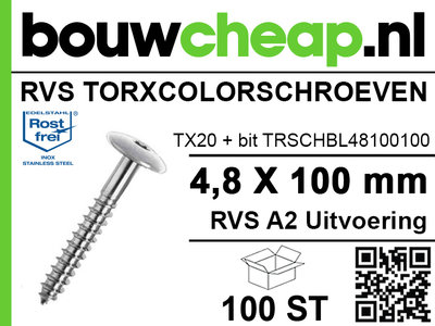 RVS Torxcolorschroef 4,8x100 blank tbv HPL en Trespa® (100 st)