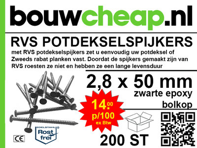 RVS Potdekselspijker 2,8x50 - 100 stuks